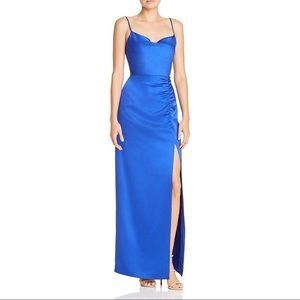 Womens Satin Drape-Neck Ruched Evening Dress